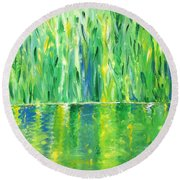 Serenity In Green Round Beach Towel by Donna Blackhall