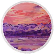 Round Beach Towel featuring the painting Serenity by Meryl Goudey