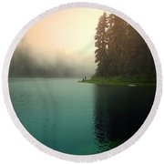 Serenity On Blue Lake Foggy Afternoon Round Beach Towel
