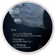 Serenity Prayer Finding Peace Round Beach Towel