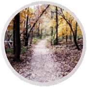 Round Beach Towel featuring the photograph Serenity Walk In The Woods by Peggy Franz
