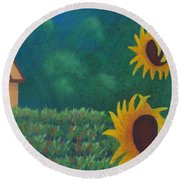 Sergi's Sunflowers Round Beach Towel