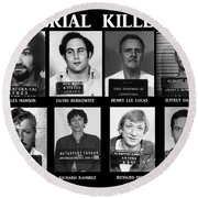 Serial Killers - Public Enemies Round Beach Towel by Paul Ward