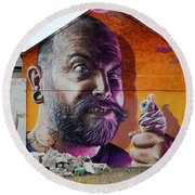 Serious Wall Art Round Beach Towel by Richard Ortolano