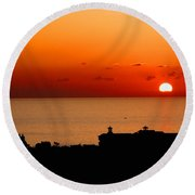 Set Into The Sea Round Beach Towel by Scott Carruthers