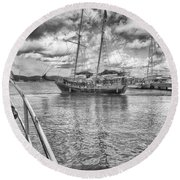 Round Beach Towel featuring the photograph Setting Sail by Howard Salmon