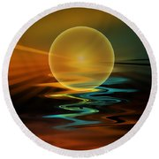 Setting Sun Round Beach Towel by Klara Acel
