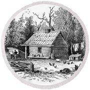 Settler's Log Cabin - 1878 Round Beach Towel