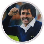 Seve Ballesteros Oil On Canvas Round Beach Towel