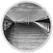 seven mile bridge BW Round Beach Towel