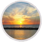 Round Beach Towel featuring the photograph Seven Mile Sunset Over Grand Cayman by Amy McDaniel