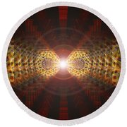 Round Beach Towel featuring the drawing Seven Sacred Steps Of Light by Derek Gedney