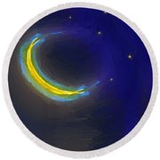 Seven Stars And The Moon Round Beach Towel by RC deWinter
