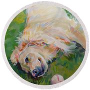 Seventh Inning Stretch Round Beach Towel by Kimberly Santini