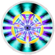 Seventh Ray Of Consciousness Round Beach Towel by Derek Gedney