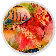 Severums And Angels  Round Beach Towel