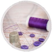 Sewing Thimble Round Beach Towel