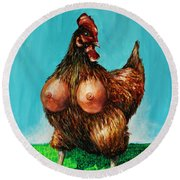 Sexy Chicken Round Beach Towel