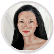 Round Beach Towel featuring the drawing Sexy Freckle Faced Beauty Lucy Liu by Jim Fitzpatrick