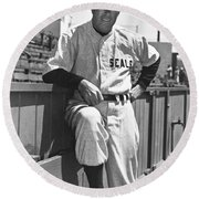 Sf Seals Manager Lefty O'doul Round Beach Towel by Underwood Archives