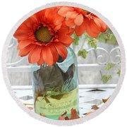 Shabby Chic Autumn Fall Orange Daisy Flowers In Mason Ball Jar - Autumn Fall Flowers Gerber Daisies Round Beach Towel