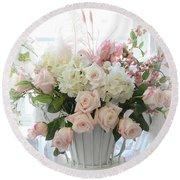 Shabby Chic Basket Of White Hydrangeas - Pink Roses - Dreamy Shabby Chic Floral Basket Of Roses Round Beach Towel