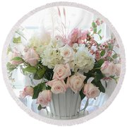 Shabby Chic Basket Of White Hydrangeas - Pink Roses - Dreamy Shabby Chic Floral Basket Of Roses Round Beach Towel