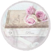 Shabby Chic Cottage Pink Roses Love Wall Print - Romantic Love Roses Wall Decor Round Beach Towel