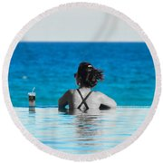 Shades Of Blue Round Beach Towel