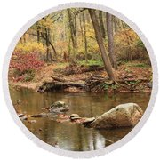Shades Of Fall In Ridley Park Round Beach Towel by Patrice Zinck