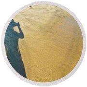 Shadow And Sand Raw Round Beach Towel