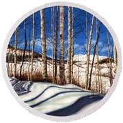 Round Beach Towel featuring the painting Shadow Dance by Barbara Jewell
