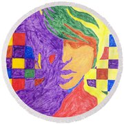 Round Beach Towel featuring the painting Prince Gemini   by Stormm Bradshaw