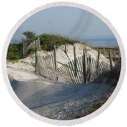 Shadow Fence Round Beach Towel