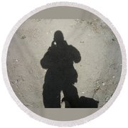 Shadow In Afghanistan  Round Beach Towel