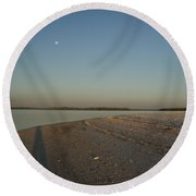 Shadow Moon Round Beach Towel by Robert Nickologianis