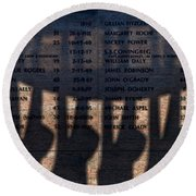 Shadow Of The Fishermens Memorial Round Beach Towel