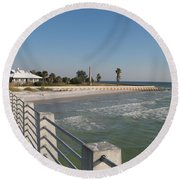 Round Beach Towel featuring the photograph Shadow On The Pier by Christiane Schulze Art And Photography