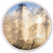 Round Beach Towel featuring the photograph Shadow Play by Charlotte Schafer