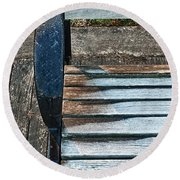 Round Beach Towel featuring the photograph Shadow Protecting Frost On Bench by Gary Slawsky