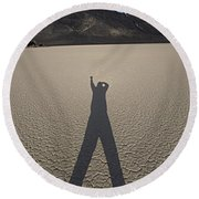 Round Beach Towel featuring the photograph Shadowman by Joe Schofield