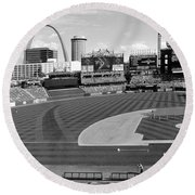 Shadows At Busch B-w Round Beach Towel