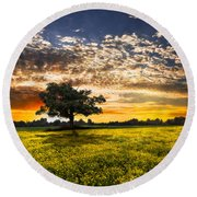 Shadows At Sunset Round Beach Towel by Debra and Dave Vanderlaan