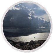 Round Beach Towel featuring the photograph Shadows Of Clouds by Georgia Mizuleva