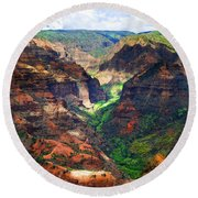 Shadows Of Waimea Canyon Round Beach Towel