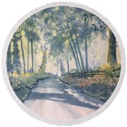 Shadows On The Setterington Road Round Beach Towel