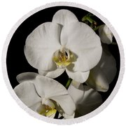Shadowy Orchids Round Beach Towel