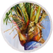 Shady Palm Tree Round Beach Towel