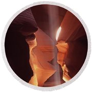 Shaft Of Light Antelope Canyon Round Beach Towel by Liz Leyden