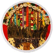 Round Beach Towel featuring the tapestry - textile Shaka Zulu by Apanaki Temitayo M